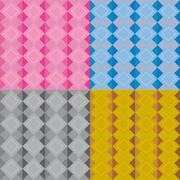 Set of four geometric patterns with pink blue grey black brown beige diamonds Stock Illustration