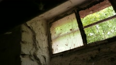 4K Scary Cellar Window in Old Building 1 Stock Footage