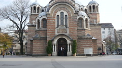 Bulgarian Orthodox Church in the capital Sofia - Temple Holiness Sedmochislentsi - stock footage