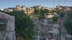 View of Rio favela, kite flyer - stock footage