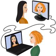 Illustration of two women having a video chat through the internet Piirros