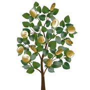 Money tree with leaves and gold coins instead of fruit - stock illustration