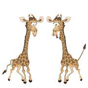 Caricature of two fun giraffes Stock Illustration
