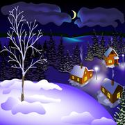 View of landscape of winter town at the night from hill Stock Illustration