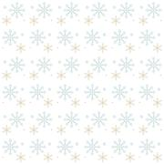 Snow Flakes Gray and Gold on White Background - stock illustration