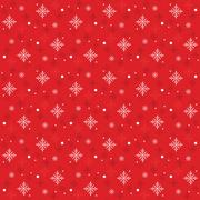 Snow Flakes Pattern Seamless on Red Background - stock illustration