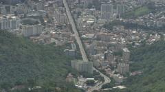 High angle shot of Rio de Janeiro, huge avenue Stock Footage