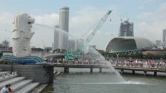 The Merlion and tourists. Marina Bay, Singapore. Stock Footage