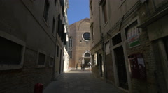 Stock Video Footage of San Gregorio Church seen from Calle del Bastion, Venice
