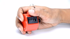 Hand held tally counter, counter clicker, counting machine Stock Footage