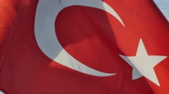 Close-up of Turkish Flag waving on blue sky Stock Footage