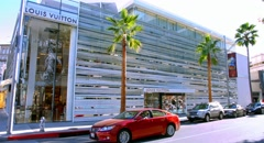 4K, RAW, Louis Vuitton Luxury Shop on Rodeo Drive, Beverly Hills, Los Angeles Stock Footage
