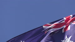 Australian Flag in wind Outdoors Stock Footage