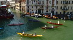 Venice - Finish Line of the Annual Regatta Storica. Stock Footage