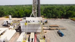Aerial of Large Drilling Rig Close orbit - stock footage