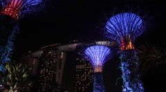 Super Trees. Gardens by the Bay. The Sands Hotel. Singapore, Marina Bay.  Stock Footage