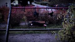 Man sleeping on a bench, wide angle Stock Footage