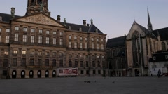Tilt shot up the Royal Palace on Dam Square in Amsterdam Stock Footage