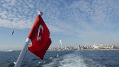 Turkish Flag waving on an Islands Ferry Stock Footage