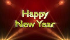 Happy New Year, Gold Text in Particles, 4k Stock Footage
