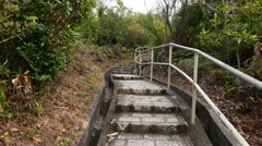 Stone-paving staircase in forest. Climb up to hill top, pavilion construction - stock footage