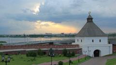 Kazan Kremlin before the storm. Kazan, Republic of Tatarstan, Russia. Full HD Stock Footage