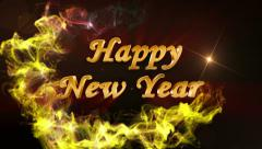 Happy New Year, Gold Text in Particles, 4k - stock footage