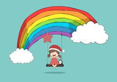 Girls santa swinging on a clouds and rainbow and penguin cute Christmas chara Stock Illustration