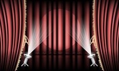 Theater stage with red curtain, gold hem and spotlights. - stock illustration