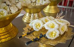 Image of Artificial flowers used during a funeral - stock photo