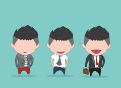 Businessman happy between level up position job. drawing by hand vector and d - stock illustration