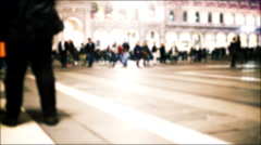 Time lapse blurred and out of focus of people walking in a big busy city Stock Footage