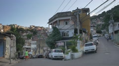 Winding street in Rio favela - stock footage