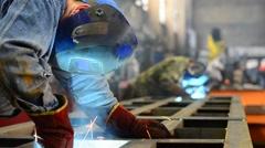 Welder weld metal structure factory Stock Footage