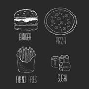 Vector Hand drawn collection of fast food, junk food. Set Sushi, pizza, burge - stock illustration