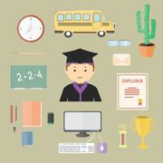 Stock Illustration of flat cartoon School Set with objects for study awards and prizes. School bus