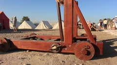 Wooden Catapult for Throwing Stones, Military Construction Stock Footage