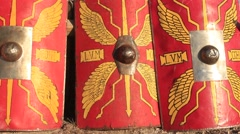 Ancient Old Roman Shield Ammunition at the Historical Festival Stock Footage
