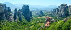 Meteora rocky monasteries summer panorama. - stock photo