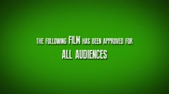 "Cinema Preview Title Slate ""Film Approved For All Audiences"" - stock footage"