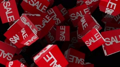 Flying cubes with sale message in red on black Stock Footage