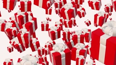 Flying gift boxes in red Stock Footage