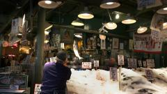 Salmon throwing pike place market Stock Footage