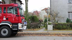 The fire brigade removed the fallen tree by a strong wind - stock footage
