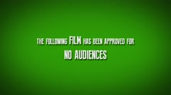 "Cinema Preview Title Slate ""Film Approved For No Audiences"" Stock Footage"