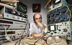 Scientist at vintage laboratory Stock Photos