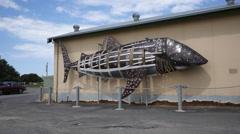 Stock Video Footage of Australia Great Ocean Road Apollo Bay fish sculpture
