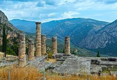 Excavations of the ancient Delphi city (Greece) Stock Photos