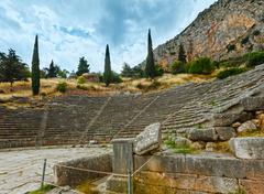 Excavations of the ancient Delphi city (Greece) - stock photo