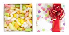 Gift box with red bow and polyfoam Stock Photos